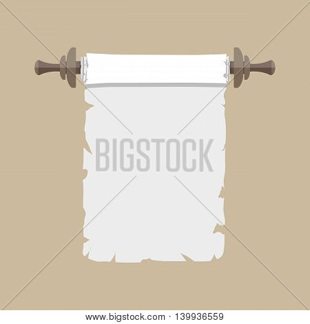 Ancient paper scroll with wooden handles. vector illustration in flat style isolated on brown background