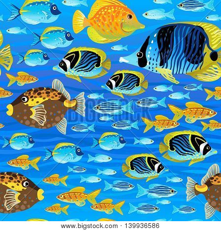Bright seamless pattern with sea fish. Marine life vector background. It can be used for wallpaper pattern fills web page background surface textures.