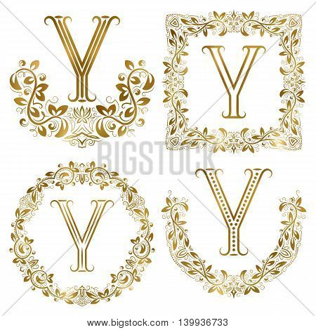 Golden Y letter ornamental monograms set. Heraldic symbols in wreaths square and round frames.