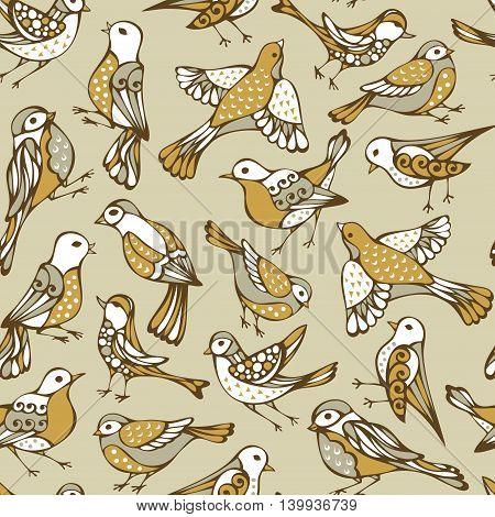 Vector Seamless Birds Pattern.