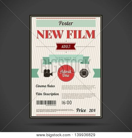 retro cinema poster. Vector illustration Abstract vintage vertical banner with text.