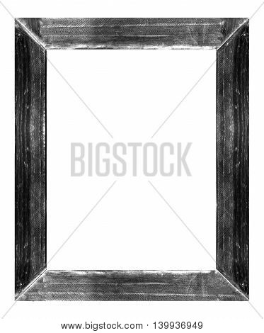 Grunge Black Wooden Frame Isolated On White Background