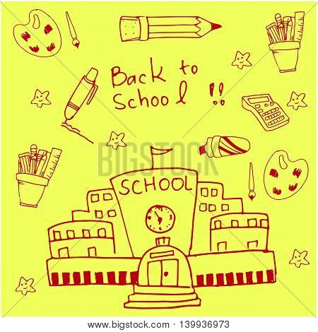 On yellow backgrounds school doodles vector illustration