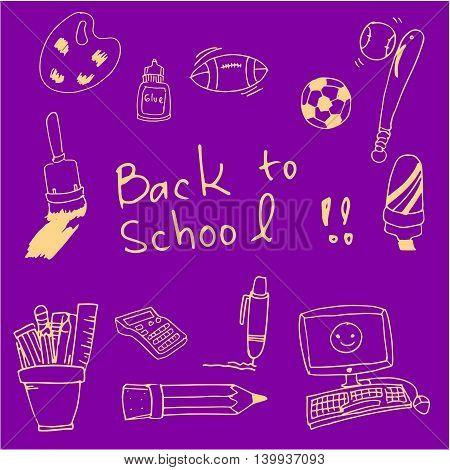 Back to school doodles clasroom supplies vector illustration