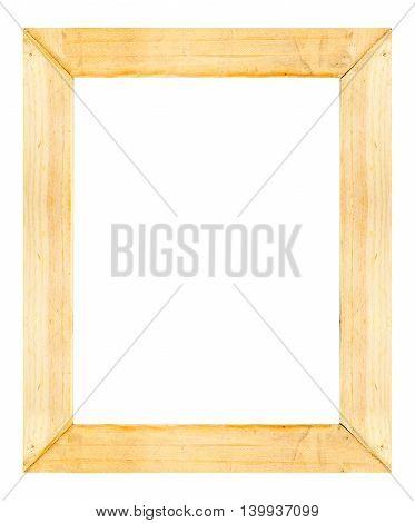 Light Wooden Frame Isolated On White Background.