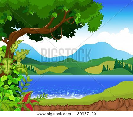 green tree with beauty lake landscape background