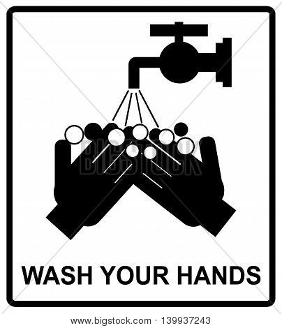 Vector please wash your hands befove eating, drinking or smoking sign, notice sticker for public places, WC,