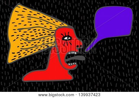 Hand Drawn Illustration Screaming Woman with Place For Your Text. Black background.