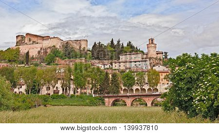 Castrocaro Terme, Emilia Romagna, Italy: landscape of the ancient spa town with the old castle above