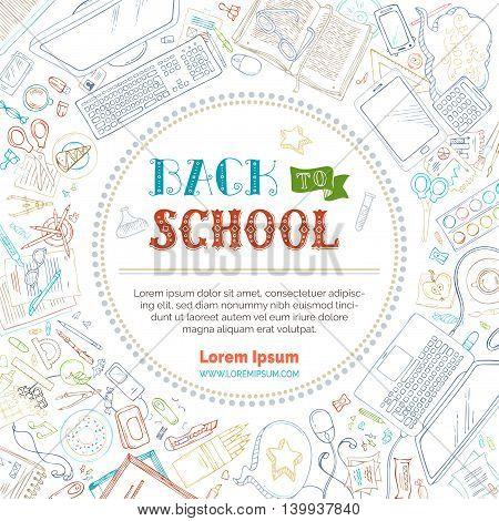 Vector Background Of School Supplies.