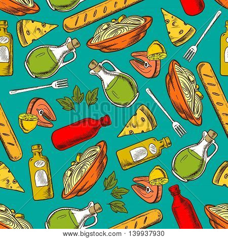 Food pattern seamless background. Lunch and dinner meal and spices elements. Hand drawn icons of pasta, spaghetti, salmon steak, bread, loaf, cheese, lemon, olive oil, balsamic vinegar, fork