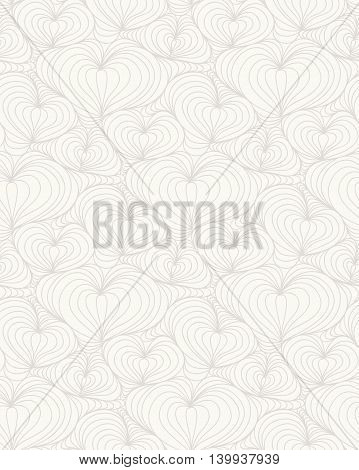 Abstract floral background of doodle hand drawn lines. Monochrome wave pattern. Coloring book page. Seamless wallpaper.