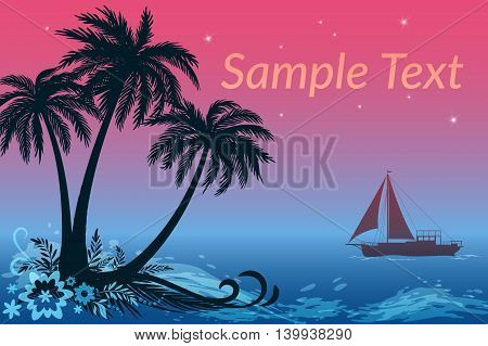 Exotic Landscape, Sailing Ship and Tropical Island, Palms Trees, Flowers and Grass Silhouettes against the Night Sea and Star Sky. Eps10, Contains Transparencies. Vector