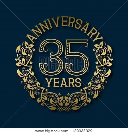 Golden emblem of thirty fifth years anniversary. Celebration patterned logotype with shadow on blue.