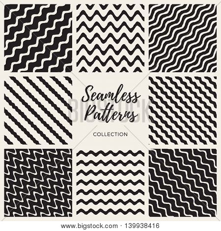 Set of Eight Vector Seamless Black and White Hand Drawn Wavy Lines Patterns Collection. Abstract Geometric Background Design