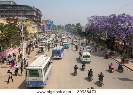 Kathmandu, Nepal - April 29, 2016: Busy traffic on the roads of Kathmandu, Nepal.