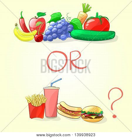 Fresh fruits and vegetables or fast food. Vector illustration in cartoon style