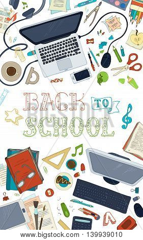 Hand-drawn gadgets and school stationery on white background. Top view. Doodles design elements for work and education. Copyspace for your text. Vector.