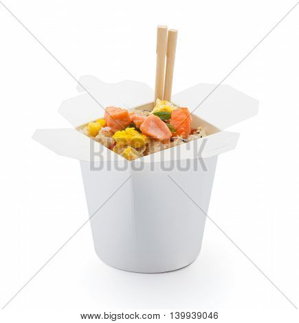 Salmon Teriyaki With Japanese Rice In Box Isolated On White Background