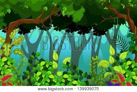 beauty green tree with tropical forest background