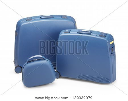 Travel suitcases set against white  background. Clipping path