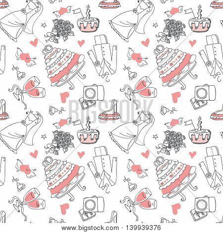 Wedding Doodle line seamless pattern for design