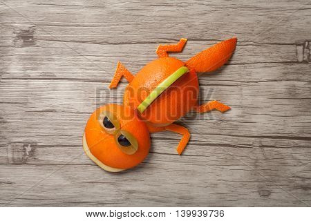 Lizard made of orange on wooden background