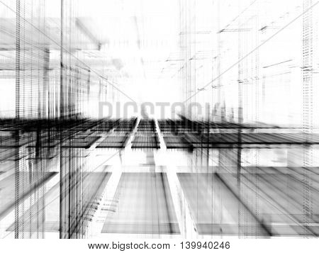 Abstract background element. Fractal graphics series. Three-dimensional composition of glowing artifacts. Information glitch concept. Black and white colors.