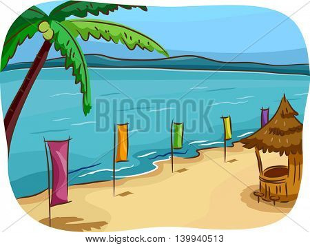 Illustration of a Tropical Beach Lined Up With Colorful Banners