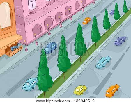 Illustration of a City Street as Viewed from Above