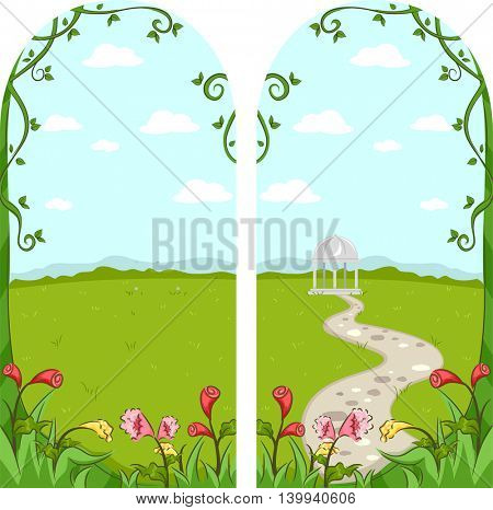 Frame Illustration Featuring a Garden Leading to a Gazebo
