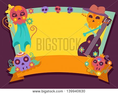 Illustration of a Frame Decorated with Sugar Skulls
