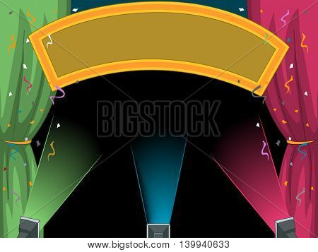 Illustration of a Blank Festival Banner Illuminated by Stage Lights