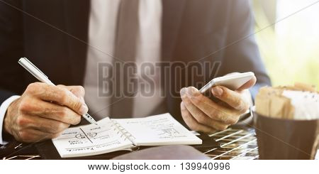 Businessman Mobile Planner Writing Concept