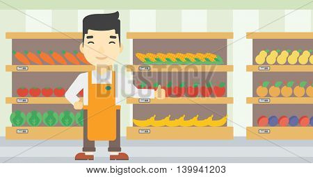 An asian young male supermarket worker showing thumb up on the background of shelves with vegetables and fruits in supermarket. Vector flat design illustration. Horizontal layout.