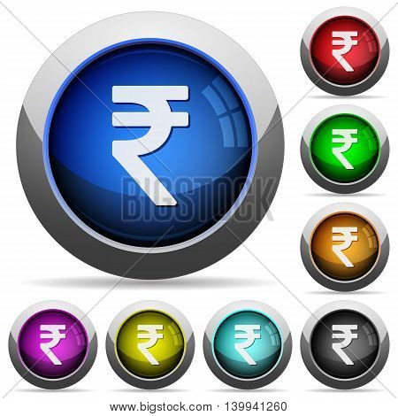 Set of round glossy Indian Rupee sign buttons. Arranged layer structure.