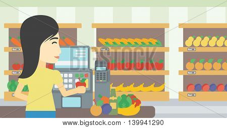 An asian young female cashier standing at the checkout at the supermarket. Female cashier working at checkout at the supermarket. Vector flat design illustration. Horizontal layout.
