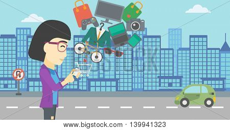 An asian young woman holding a smartphone with shopping cart and application icons flying out on a city background, Vector flat design illustration. Horizontal layout.