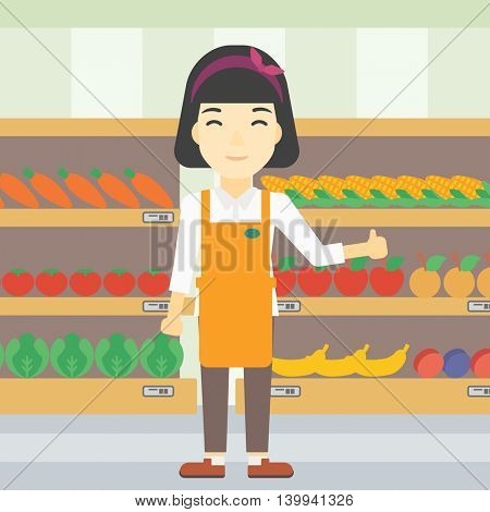 An asian young female supermarket worker showing thumb up on the background of shelves with vegetables and fruits in supermarket. Vector flat design illustration. Square layout.