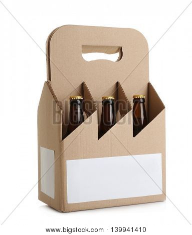 Paper beer package on white background