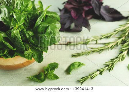 Basil, rosemary and mint herbs on wooden table