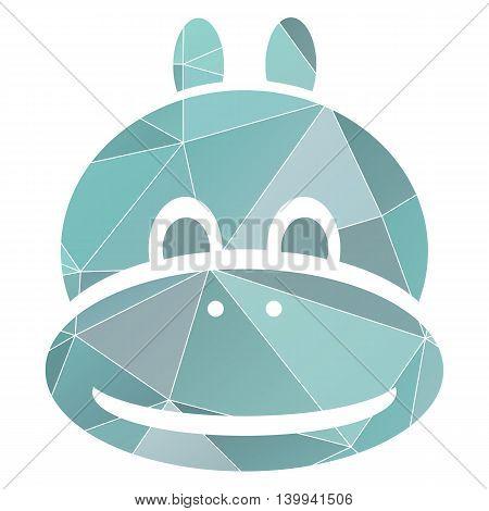 blue polugonal hippopotamus head symbol isolated vector on white background