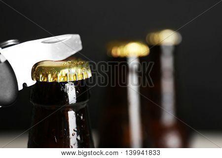 Beer bottles on dark background