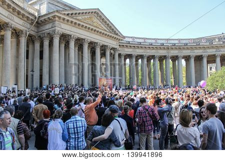 St. Petersburg, Russia - 9 May, A huge crowd of people at the Kazan Cathedral, 9 May, 2016. Celebration day of victory in the center of St. Petersburg.