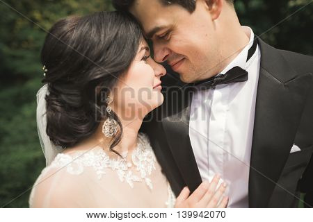 Close up of a nice young wedding couple.
