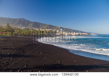 Playa Jardin beach against El Teide volcano Puerto de la Cruz Tenerife Canary islands Spain