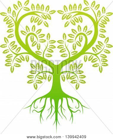green tree silhouette isolated for you design
