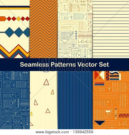 Set of eight seamless geometric patterns with ethnic and tribal style ornament elements. Vector illustrations.