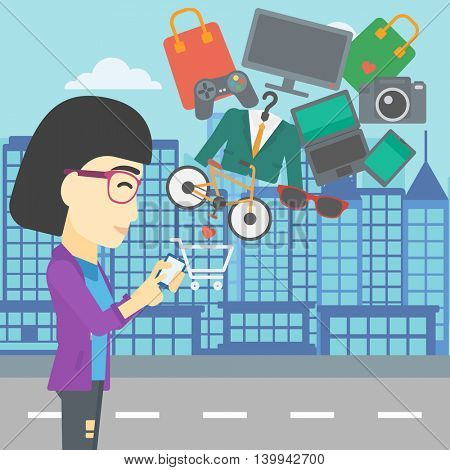 An asian young woman holding a smartphone with shopping cart and application icons flying out on a city background, Vector flat design illustration. Square layout.