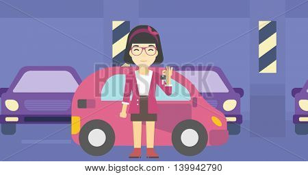 An asian woman holding keys to her new car. Happy young woman showing key to her new car on the background of car shop. Woman buying car. Vector flat design illustration. Horizontal layout.
